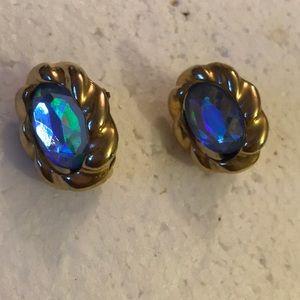 Vintage rhinestone clip on earring